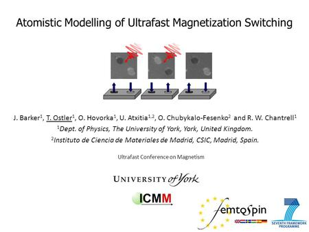 Atomistic Modelling of Ultrafast Magnetization Switching Ultrafast Conference on Magnetism J. Barker 1, T. Ostler 1, O. Hovorka 1, U. Atxitia 1,2, O. Chubykalo-Fesenko.