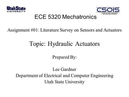 Topic: Hydraulic Actuators
