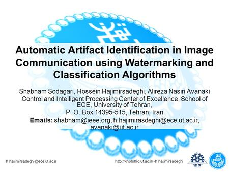 Automatic Artifact Identification in Image Communication using Watermarking and.