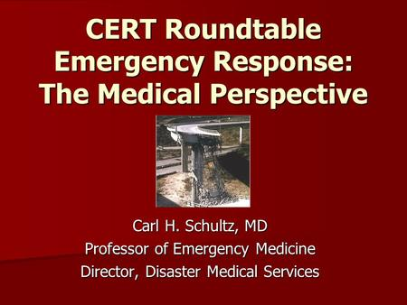 CERT Roundtable Emergency Response: The Medical Perspective Carl H. Schultz, MD Professor of Emergency Medicine Director, Disaster Medical Services.