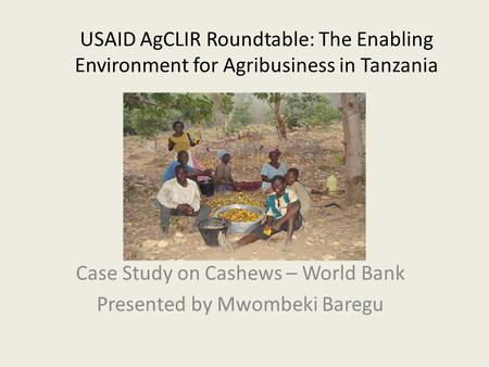 USAID AgCLIR Roundtable: The Enabling Environment for Agribusiness in Tanzania Case Study on Cashews – World Bank Presented by Mwombeki Baregu.