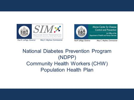 National Diabetes Prevention Program (NDPP) Community Health Workers (CHW) Population Health Plan.