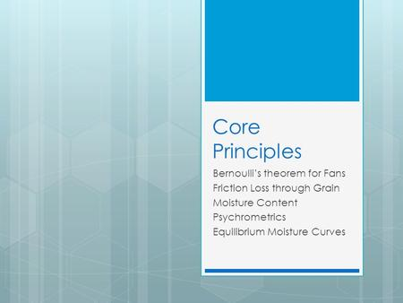 Core Principles Bernoulli's theorem for Fans