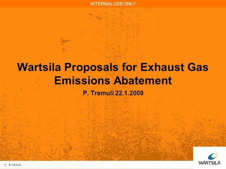Wartsila Proposals for Exhaust Gas Emissions Abatement