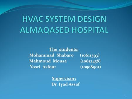 The students: Mohammad Shabaro (10611393) Mahmoud Mousa (10612458) Yosri Asfour (10508901) Supervisor: Dr. Iyad Assaf 1.