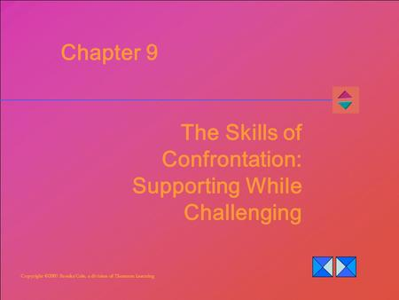 Copyright ©2007 Brooks/Cole, a division of Thomson Learning Chapter 9 The Skills of Confrontation: Supporting While Challenging.
