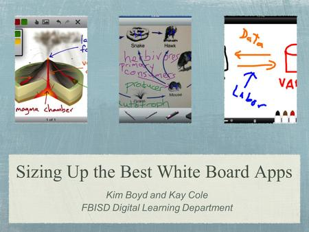 Sizing Up the Best White Board Apps Kim Boyd and Kay Cole FBISD Digital Learning Department.