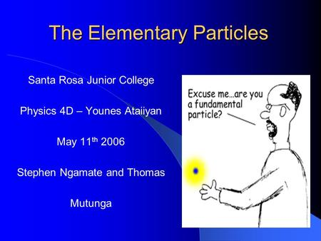 The Elementary Particles Santa Rosa Junior College Physics 4D – Younes Ataiiyan May 11 th 2006 Stephen Ngamate and Thomas Mutunga.