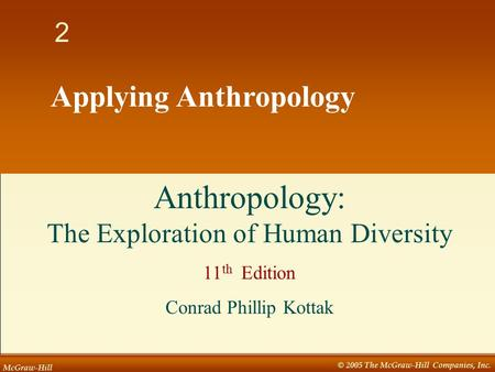 McGraw-Hill © 2005 The McGraw-Hill Companies, Inc. 1 2 Applying Anthropology Anthropology: The Exploration of Human Diversity 11 th Edition Conrad Phillip.