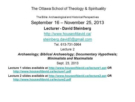 The Ottawa School <strong>of</strong> Theology & Spirituality