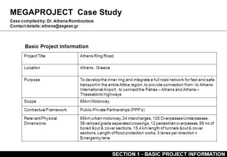 MEGAPROJECT Case Study Basic Project Information Case compiled by: Dr. Athena Romboutsos Contact details: Project TitleAthens Ring Road.