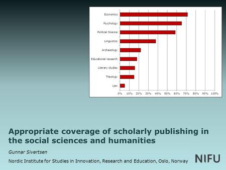Appropriate coverage of scholarly publishing in the social sciences and humanities Gunnar Sivertsen Nordic Institute for Studies in Innovation, Research.