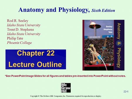 22-1 Anatomy and Physiology, Sixth Edition Rod R. Seeley Idaho State University Trent D. Stephens Idaho State University Philip Tate Phoenix College Copyright.