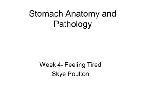 Stomach Anatomy and Pathology