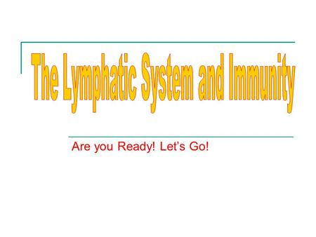 Are you Ready! Let's Go!. Explain the structure of the lymphatic system A.LYMPH – 1. Straw-colored, similar to plasma 2. Interstitial fluid-in spaces.
