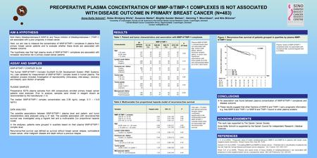PREOPERATIVE PLASMA CONCENTRATION OF MMP-9/TIMP-1 COMPLEXES IS NOT ASSOCIATED WITH DISEASE OUTCOME IN PRIMARY BREAST CANCER (N=483) Anne-Sofie Schrohl.