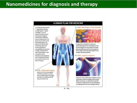 Nanomedicines for diagnosis and therapy. Nanomedicines.