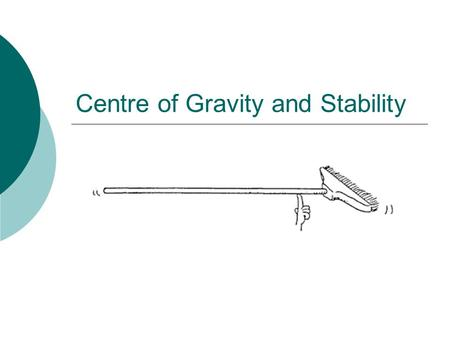 Centre of Gravity and Stability. CENTRE OF GRAVITY  The centre of gravity of a body is the point about which its weight can be considered to act.  In.