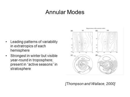 Annular Modes Leading patterns of variability in extratropics of each hemisphere Strongest in winter but visible year-round in troposphere; present in.