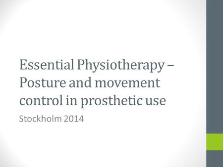 Essential Physiotherapy – Posture and movement control in prosthetic use Stockholm 2014.