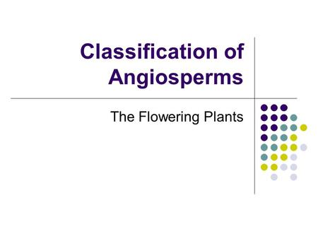 Classification of Angiosperms The Flowering Plants.