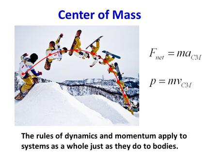 Center of Mass The rules of dynamics and momentum apply to systems as a whole just as they do to bodies.