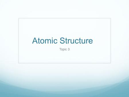 Atomic Structure Topic 3. History John Dalton Hard sphere model Earliest model No internal structure JJ Thompson Plumb Pudding model + and – charges in.