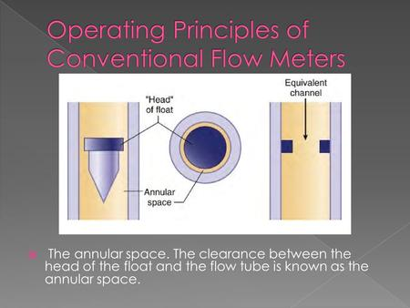  The annular space. The clearance between the head of the float and the flow tube is known as the annular space.