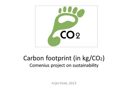 Carbon footprint (in kg/CO 2 ) Comenius project on sustainability Arjan Koek, 2013.