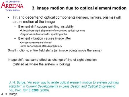 3. Image motion due to optical element motion