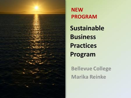 Sustainable Business Practices Program Bellevue College Marika Reinke NEW PROGRAM.