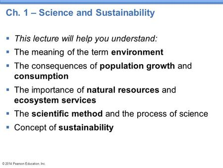 Ch. 1 – Science and Sustainability