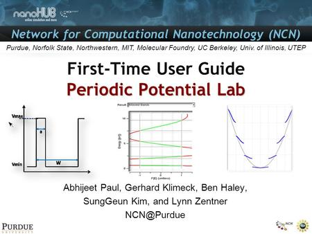 Network for Computational Nanotechnology (NCN) Purdue, Norfolk State, Northwestern, MIT, Molecular Foundry, UC Berkeley, Univ. of Illinois, UTEP Periodic.