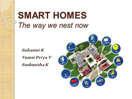SMART HOMES The way we nest now Suhasini K Vamsi Priya V Sushmitha K.