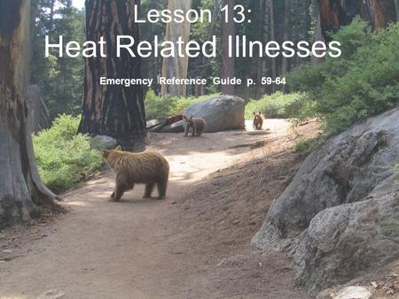 Lesson 13: Heat Related Illnesses Emergency Reference Guide p. 59-64.
