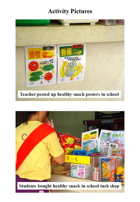 Activity Pictures Teacher posted up healthy snack posters in school Students bought healthy snack in school tuck shop.