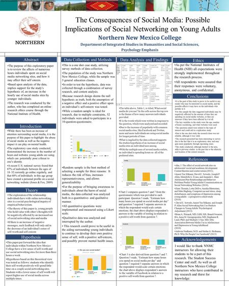The Consequences of Social Media: Possible Implications of Social Networking on Young Adults Northern New Mexico College Department of Integrated Studies.