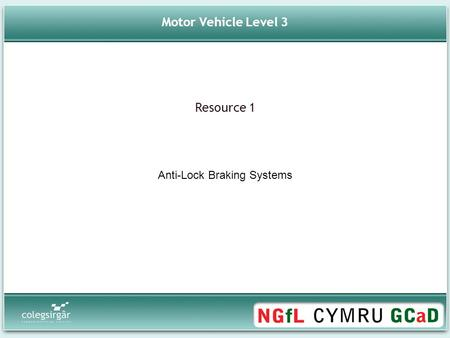 Motor Vehicle Level 3 Anti-Lock Braking Systems Resource 1.