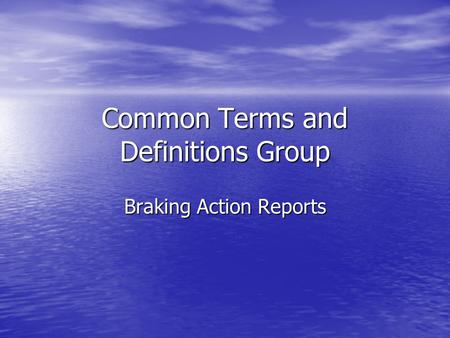 Common Terms and Definitions Group Braking Action Reports.