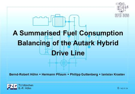 A Summarised Fuel Consumption Balancing of the Autark Hybrid Drive Line Bernd-Robert Höhn  Hermann Pflaum  Philipp Guttenberg  Ianislav Krastev 0 /