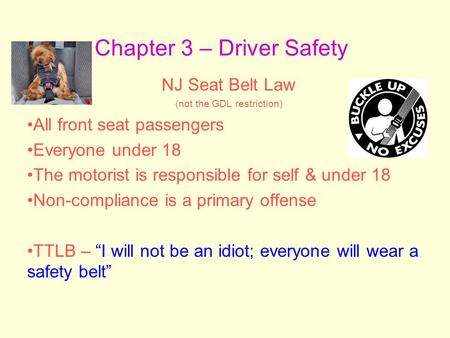Chapter 3 – Driver Safety NJ Seat Belt Law (not the GDL restriction) All front seat passengers Everyone under 18 The motorist is responsible for self &