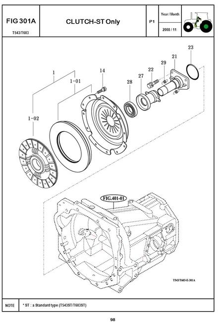2008 / 11 NOTE Year / Month T543/T603 P1 FIG 301A CLUTCH-ST Only 98 * ST : a Standard type (T543ST/T603ST)