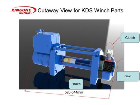 Cutaway View for KDS Winch Parts Gear Clutch Brake 520-544mm.