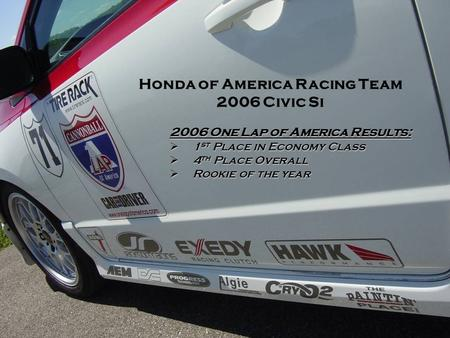 2006 One Lap of America Results:  1 st Place in Economy Class  4 th Place Overall  Rookie of the year Honda of America Racing Team 2006 Civic Si.