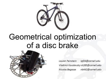 Geometrical optimization of a disc brake Lauren Feinstein Vladimir Kovalevsky Nicolas Begasse