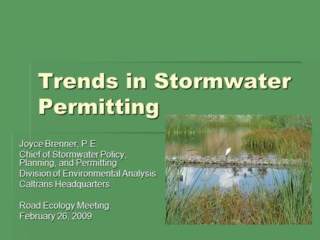 Trends in Stormwater Permitting Joyce Brenner, P.E. Chief of Stormwater Policy, Planning, and Permitting Division of Environmental Analysis Caltrans Headquarters.