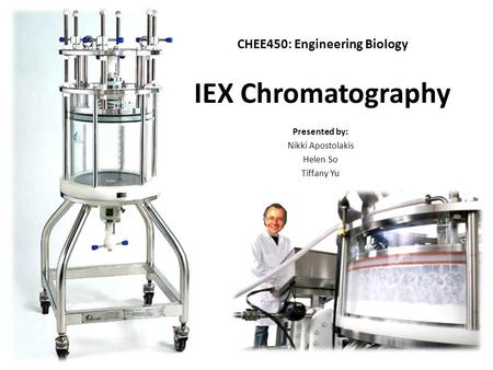 IEX Chromatography Presented by: Nikki Apostolakis Helen So Tiffany Yu CHEE450: Engineering Biology.