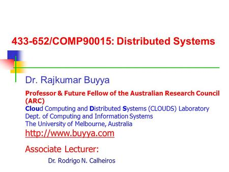 /COMP90015: Distributed Systems