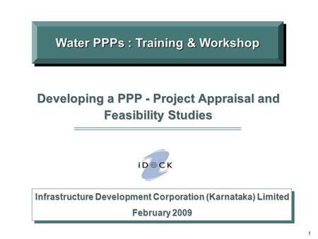 Water PPPs : Training & Workshop
