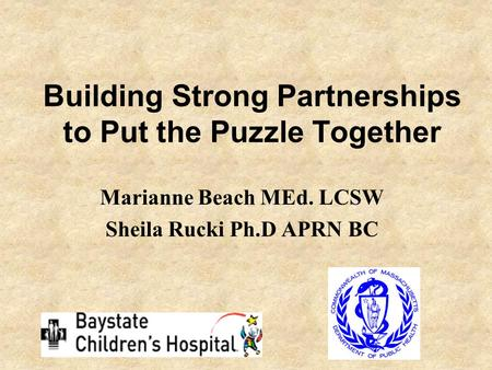 Building Strong Partnerships to Put the Puzzle Together Marianne Beach MEd. LCSW Sheila Rucki Ph.D APRN BC.